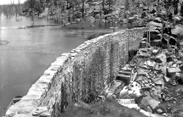 This is the original rock dam that created Big Bear Lake in 1885.  Our current dam was built in 1912, about 50 yards west (to the right) of this structure.
