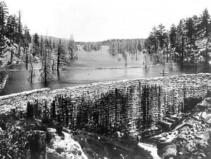 Frank Brown's rock dam was built at Big Bear Lake in 1885.