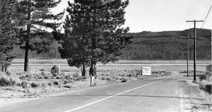 This view of Big Bear Lake is from the Pine Knot Boulevard and Big Bear Boulevard intersection. This 1920's photo was taken long before Pine Knot landing or any of the other commercial buildings were built.