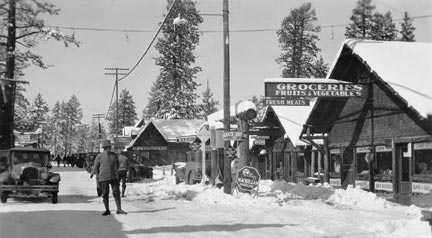 A 1920's winter scene, looking west down Village Drive from the Bartlett intersection.