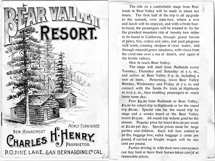 According to this brochure, a trip to Big Bear Lake from the bottom of the hill took about ten hours. - Rick Keppler Collection.