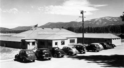 The Pan Hot Springs hotel was never rebuilt after it burned in 19??, but the swimming pools were restored and opened to the public. They served the community until 1992 when they were coled because of earthquake damage. - Rick Keppler Collection.