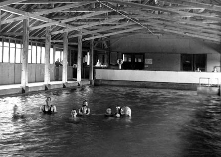 The Pan Hot Springs hotel had both indoor and outdoor pools flowing with warm mineral water from the natural undergoround hot springs.  -  Rick Keppler collection.