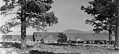 The Pan Hot Springs Hotel, circa 1926.  The hotel was located jus east of today's North Shore Drive and Paradise intersection in Big Bear City. - Rick Keppler Collection.