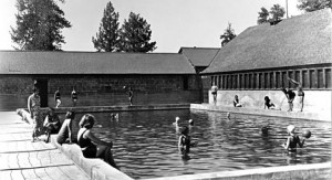 The outdoor swimming pool at the Pan Hot Springs Hotel. - Rick Keppler Collection.