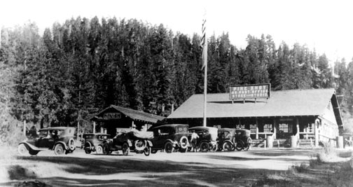 A busy weekend in Big Bear Lake during the 1920's.  The building on the far left is headquarters of the Mountain Auto Line which provided stage service to Big Bear.  -  Rick Keppler Collection.
