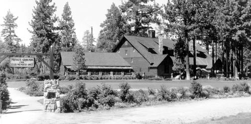 Located in Big Bear City, the Peter Pan Woodland Club was established in 1925.  It was the most exclusive club in all of Big Bear Lake.  -  Rick Keppler Collection.