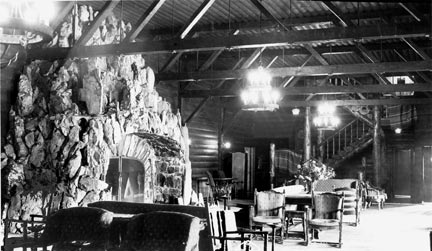A view of the massive rock fireplace from the opposite direction. - Rick Keppler collection.