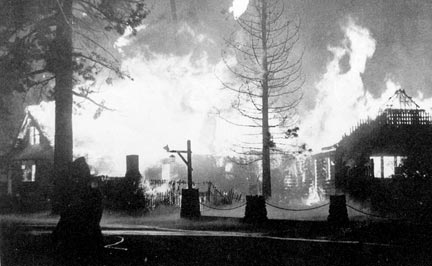 The Peter Pan Woodland Club's reign as Big Bear's most exclusive resort came to an end on June 18, 1948, when the main club house was reduced to ashes by an early morning fire. - Rick Keppler collection.