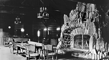 The main lounge of the Peter Pan Woodland club had a huge rock fireplace. The firepit was large enough to hold the front end of a truck. It also had a model railroad built into it with a train that wound it's way through the rocks - Rick Keppler collection.