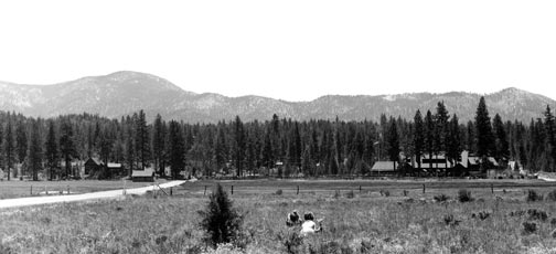 This 1920's distant view of the Woodland Club looks south along Greenway, across what is now the east end of the Big Bear City's airport runway - Rick Keppler collection.