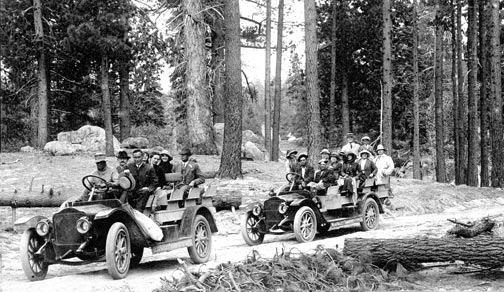 White Stages were rugged and powerful enough to handle the steep dirt roads through the San Bernardino Mountains. They provided the first regular motorized transportation into Big Bear Valley.