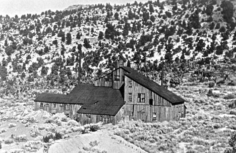 The Rose Mine stamp mill. Since the mine shaft ran vertically down into the ground, a pully system was needed to haul the ore up out of the ground. This system was housed in the small structure located on the roof. - Rick Keppler Collection.
