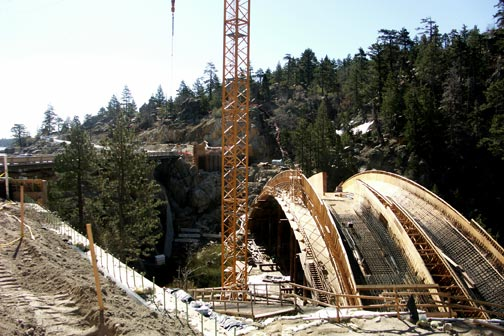 Close up view of the structural support for the new bridge.  The Big Bear Lake dam is on the left.