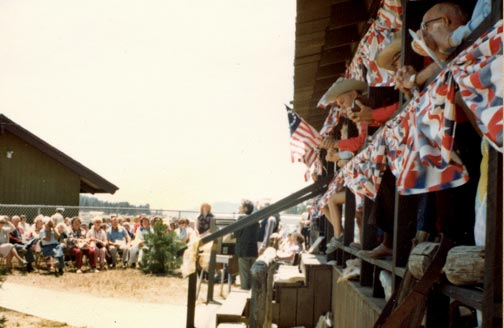 The ceremony dedicating the Big Bear Museum on June 12, 1982.  Bog Brown is on the right observing the proceedings.