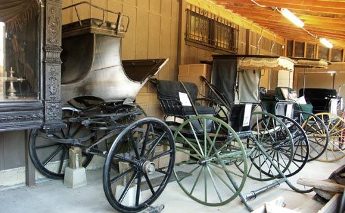 The Big Bear Museum's collection of restored wagons, surreys, and even an old hurst. - Rick keppler