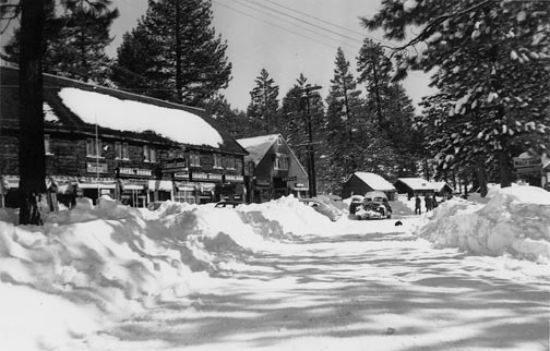 This north/east view shows Fawnskin in the 1940's.  By then, Fawnskin was beginning to look a lot like it does today.  -  Rick Keppler collection.