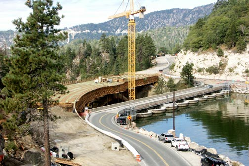 View looking west towards the Big Bear Lake bridge construction project. Compare this to the photo May 15 at the top of the page.