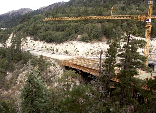 View of the bridge where it connects with the highway on the north side of Big Bear Lake. Posted
