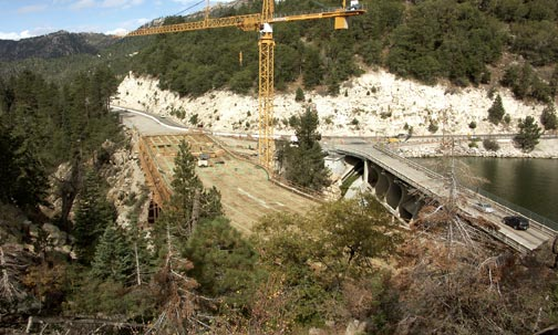 This view shows the new Big Bear Lake bridge and Eastwood Dam together