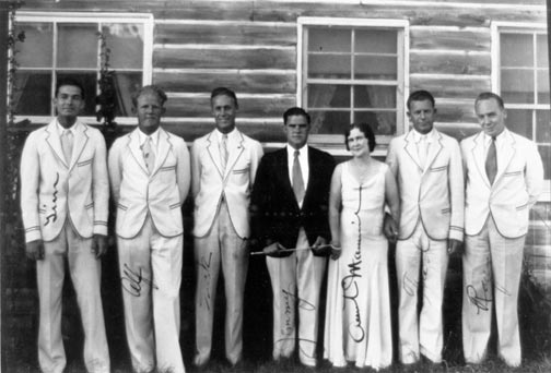 The Stillwell's resort spared no expense in providing live entertainment to Big Bear tourists.  Here is Mamie Stillwell posing with band members outside the pavilion. - Rick Keppler collection.