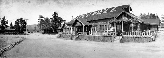 The original Stillwell's main pavilion built by Carl & Mamie Stillwell ath Big Bear Lake in 1920. - Rick Keppler collection.
