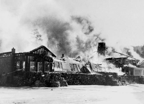 In 1948, the Stillwell's main pavilion burned again.  Stillwell's is long gone, and today a popular Big Bear restaurant sits on this location. - Rick Keppler collection.