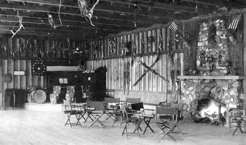 The rustic ballroom in Stillwell's main pavilion at at Big Bear Lake.  Compare this to the ballroom that replaced it in the 1940's after it burned. - Rick Keppler collection.