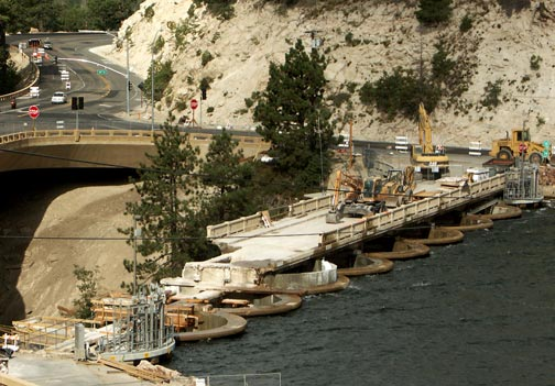 September 10, 2011, the old bridge across the dam is now about on third gone. - Rick Keppler collection