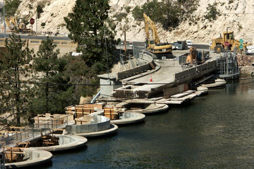 A close up view of the removal process on the Big Bear Lake dam. - © Rick Keppler.
