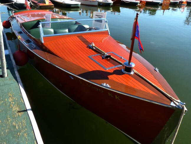 Front view of the restored &quot;Step In Again 1&quot; Chris Craft at the 2012 Classic Boat Show.  Rick Keppler.