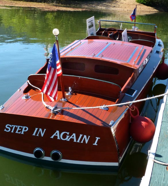 &quot;Step In Again 1&quot; on display at the Big Bear 2012, Classic Boat Show.   Rick Keppler.